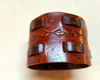 Leather Cuff: hand crafted.