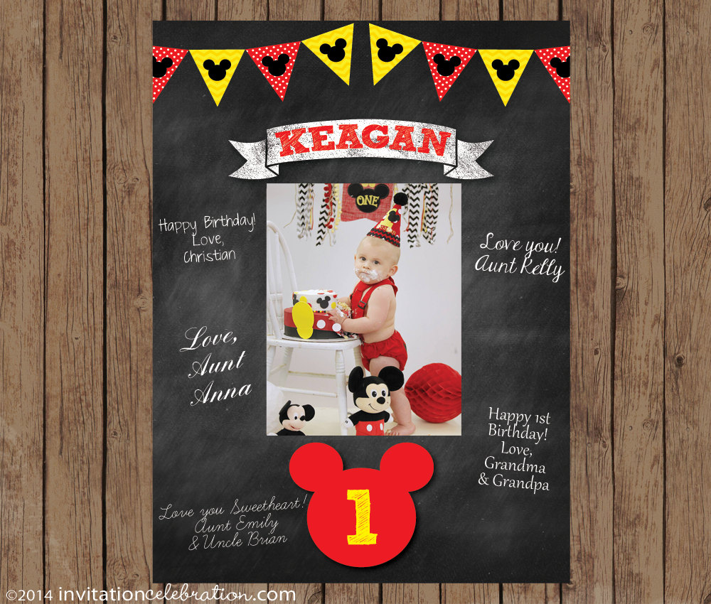 Birthday Signature Mat Wishes Guest Book Mickey Mouse