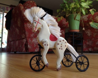 Small Vintage Wood Horse Tricycle - Animal Pull Toy, Carved Wooden Horse Toy