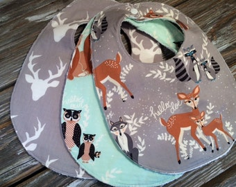 Chenille or Flannel Bibs ~ You Choose 1 or All 3! ~ Nature//Deer//Birds//Woodsy//Natural//Bear