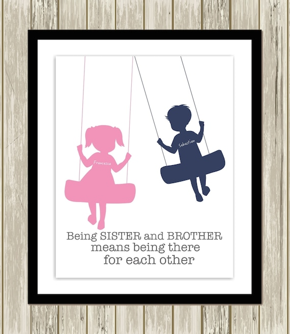 Brother And Sister Wall Art Siblings Art By Picabooartstudio