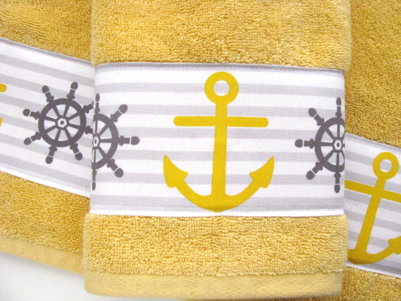 Beach Ocean Themed Bath Towels Anchor Bath Towels By Augustave
