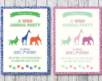 Wild Animal Themed Birthday Party Invitation