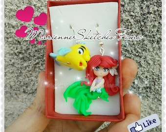Handmade Earrings Ariel Flounders Little Mermaid Polymer Clay MADE TO ORDER