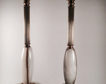 Pair Onyx and Brass Lamps