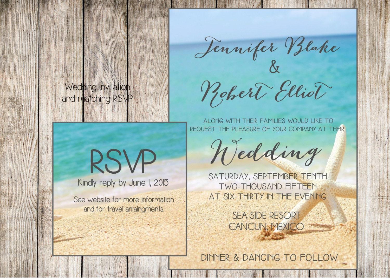 beach wedding invitation  starfish and sand at the beach