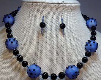 Blue and black necklace & earring set.