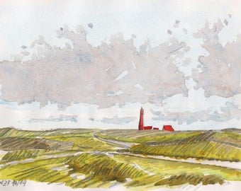 Texel landscape original watercolor, Netherlands art, landscape painting, original wall art, holland art, home deco, wall decor