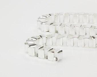 8mm Box Chain, Silver Chunky Chain, Pkg of 1 meter, CB085.0F
