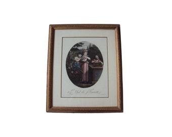 """A fine French aquatint copper engraving, """"Le Nid de Fauvette (Lark's Nest),"""" circa 1780."""