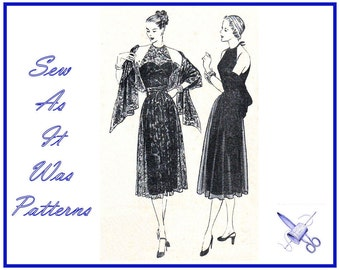 1940s Rare FF Unused Vogue 5846 Halter Neck Evening Cocktail Dresses Lace Apron Over Skirt Stole Wrap Vintage Sewing Pattern Size 14 Bust 32