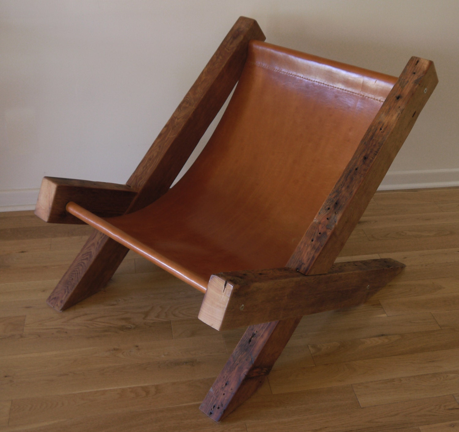 Reclaimed Wood And Leather Lounge Chair Handmade Lounge