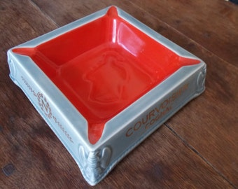 Vintage French Ceramic Courvoisier Ash Tray 1920's
