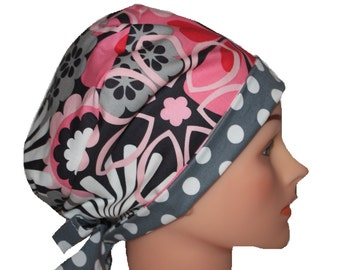 Scrub Hat Surgical Scrub Cap Chemo Chef Hat Tie Back  Flirty Front Fold Pixie Style Pink Grey Flower Dots 2nd Item Ships FREE