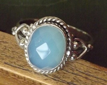 Aqua Chalcedony Ring, Aqua Ring, Sterling Silver Ring, Handmade Ring, Size: 5,6,7,8,9,10 Exclusive Budget Ring XL Size available