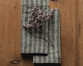 Set of 2 Green Stripe Washed Linen Napkins