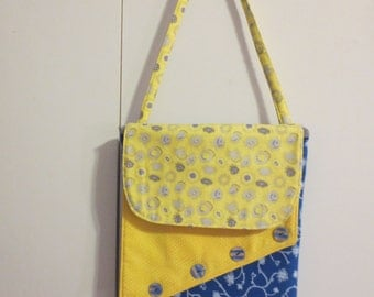 Double flap hip purse - Blue and yellow