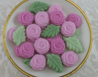 36 Pink Colored Open Rose and Leaf shaped sugar cubes for tea party, shower, tea, party favor, wedding, bridal, hostess gift