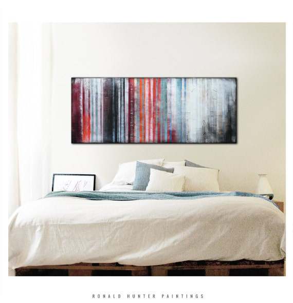 Abstract Painting - Wall Decor - ORANGE STRIPED DISTANCE / On canvas / Original / Landscape / Abstract Painting / Modern Art / Ronald Hunter