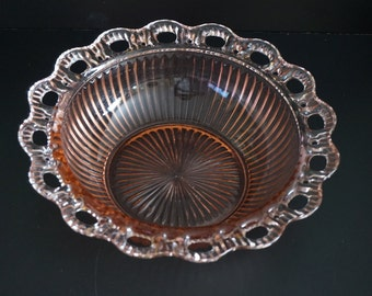 Vintage, Hocking Old Colonial Pink Ribbed Glass Bowl with Laced Edge