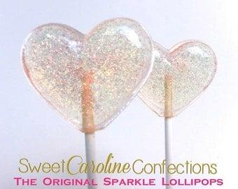 Heart Lollipops, Party Favors,  Baby Shower Favors, Heart Candy, Lollipops, Sweet Caroline Confections- Set of Six