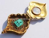 24 Karat Gold Plated Tibetan Vajrasattva Ghau Prayer Box Pendant with Ruby, Emerald Inlay - Buddha Gold Ghau Ethnic Tibetan Jewelry - WM5130