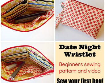 Date Night Wristlet Purse - PDF Sewing  pattern