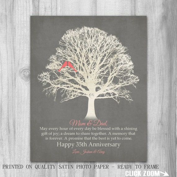 Gift Ideas For Parents 35th Wedding Anniversary : 35th Anniversary Gift for Parents Gift Mom Dad 35 Years Family Tree ...