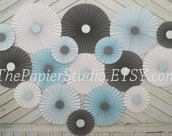 Blue and Gray Set of Seventeen (17) Paper Rosettes, Paper Fans Backdrop
