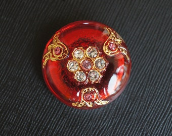 Czech Glass Button with Rhinestones, Red, size 14'', 32mm, 1pc(BUT212/14)