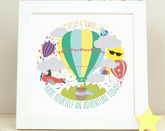 Hot Air Balloon Nursery Art, Nursery Decor, Kids Wall Art