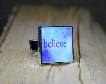 BELIEVE Jewelry Word Art Rings adjustable Handmade Resin Ring Inspirational Jewelry Unique Ring Abstract Art Believe Ring Modern Jewelry