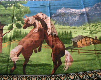Tapestry of Horses and cabin, vivid colors