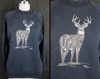 Faded Black Vintage 80s Deer Sweatshirt