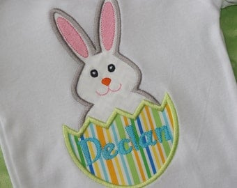 Easter Bunny in Egg Appliquéd Shirt- Personalized
