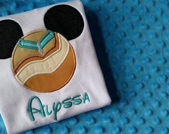 Pocahontas Disney Mickey Mouse Ears Appliquéd Shirt or Onesie-- Girl/Princesses- Disney Vacation Shirt