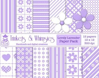 Lovely Lavender Digital Scrapbook Papers - Instant Download