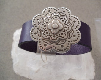 Leather Cuff Bracelet With A Antique Silver Bali Flower  Focal Piece RM71