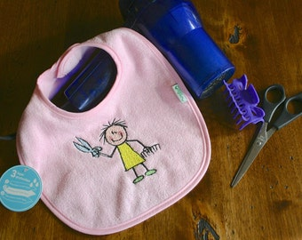 Soft Pink Embroidered Baby Hairsylist Bib - Waterproof and PVC free