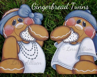 Gingerbread, Twins, painting pattern, instant download