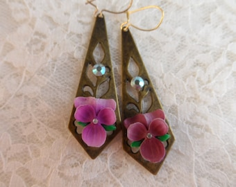 "Violet dangle earrings,1&7/8th"",1pr-JWL13"