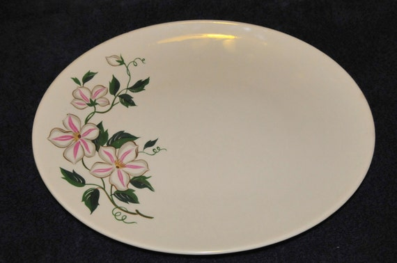 Vintage Edwin M. Knowles Oval Platter Lily White Pink Pattern, 52-12 No Chips, No Cracks,  12 and half x 10,