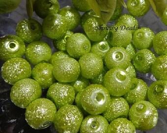 Green Apple Glass STARDUST Beads, 8mm
