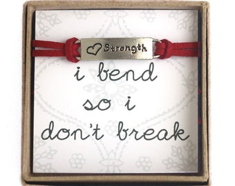 I bend so I don't break Yoga Bracelet- Strength Red Suede Cord Bracelet in a Gift Box-  Yoga Jewelry, Yoga Gift, Inspirational Jewelry