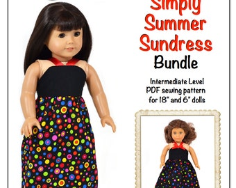 Pixie Faire Love U Bunches Simply Summer Sundress Bundle 6 inch and 18 inch American Girl Dolls - PDF