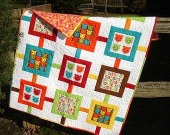 Modern Child/Baby Quilt with Lion Theme, Bright Colorful Toddler Quilt, Modern Contemporary Bedding, Crib Quilt, Quiltsy Handmade Lap Quilt