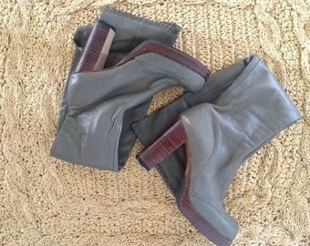 SALE / Vintage Grey Leather Over the Knee Boots / Made in Brazil / Sixties 1960s 60s / Size 8