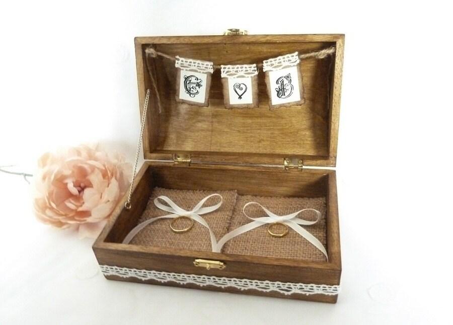 Wedding ring box rustic ring bearer box custom wood wedding for Custom made ring box