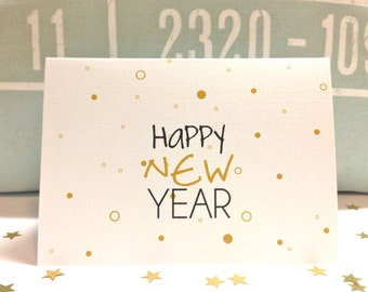 Happy New Year Card .  New Year Cards . Confetti Happy New Year
