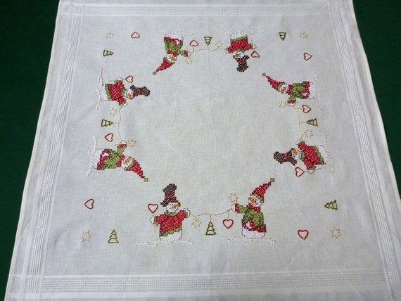 Our Embroidery New Christmas White Square Tablecloth Santa